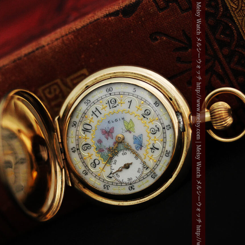 エルジンの金無垢懐中時計・花と蝶-P2250-8