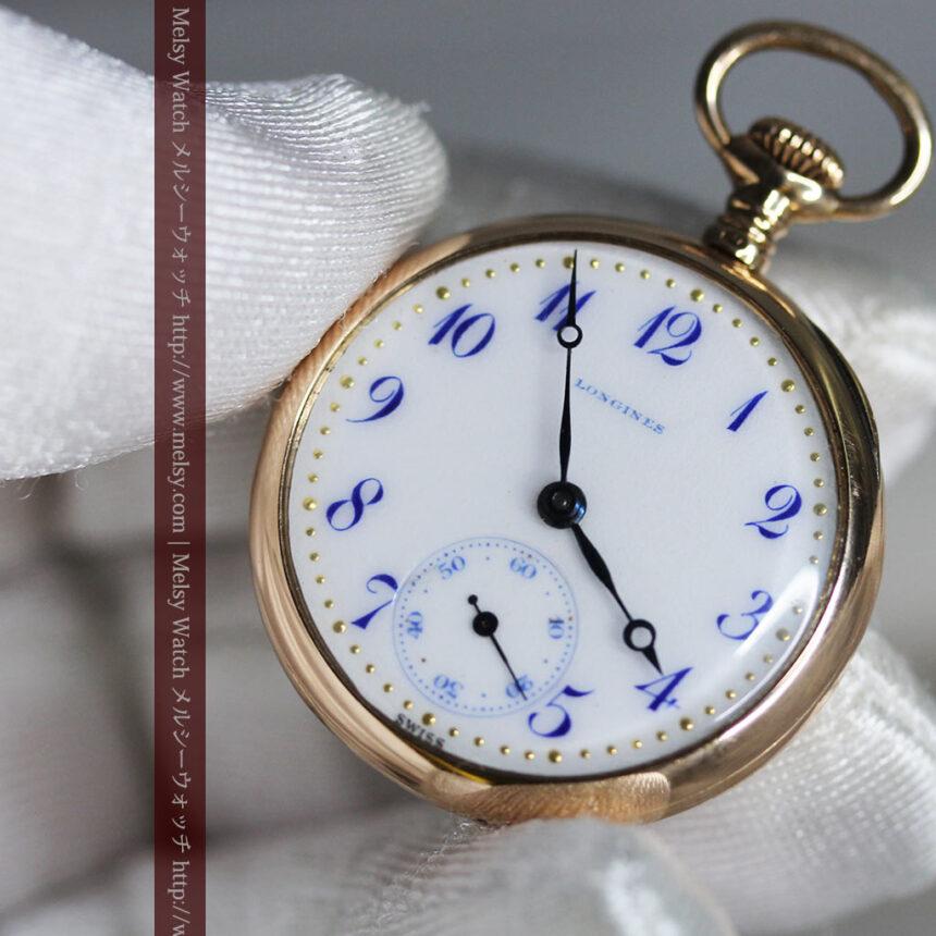 ロンジン金無垢装飾付きのアンティーク懐中時計-P2251-10