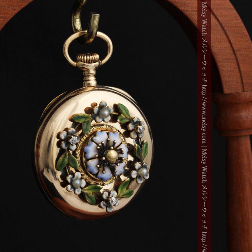 ロンジン金無垢装飾付きのアンティーク懐中時計-P2251-11