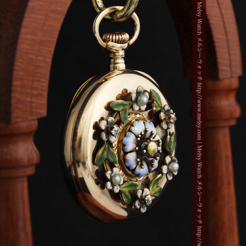 ロンジン金無垢装飾付きのアンティーク懐中時計-P2251-12