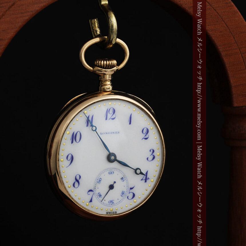 ロンジン金無垢装飾付きのアンティーク懐中時計-P2251-13