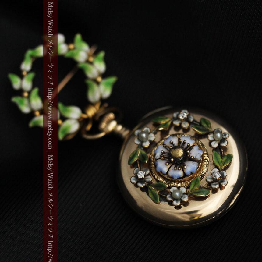 ロンジン金無垢装飾付きのアンティーク懐中時計-P2251-14