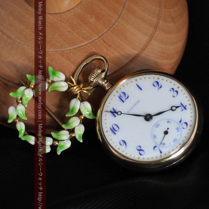 ロンジン金無垢装飾付きのアンティーク懐中時計-P2251-15