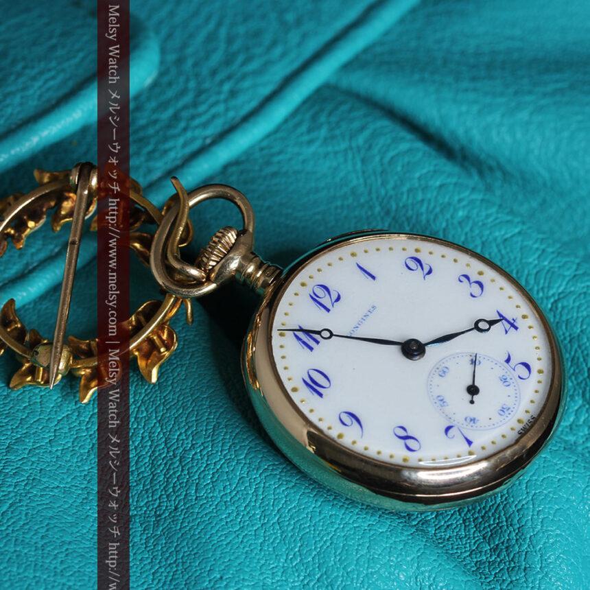 ロンジン金無垢装飾付きのアンティーク懐中時計-P2251-16