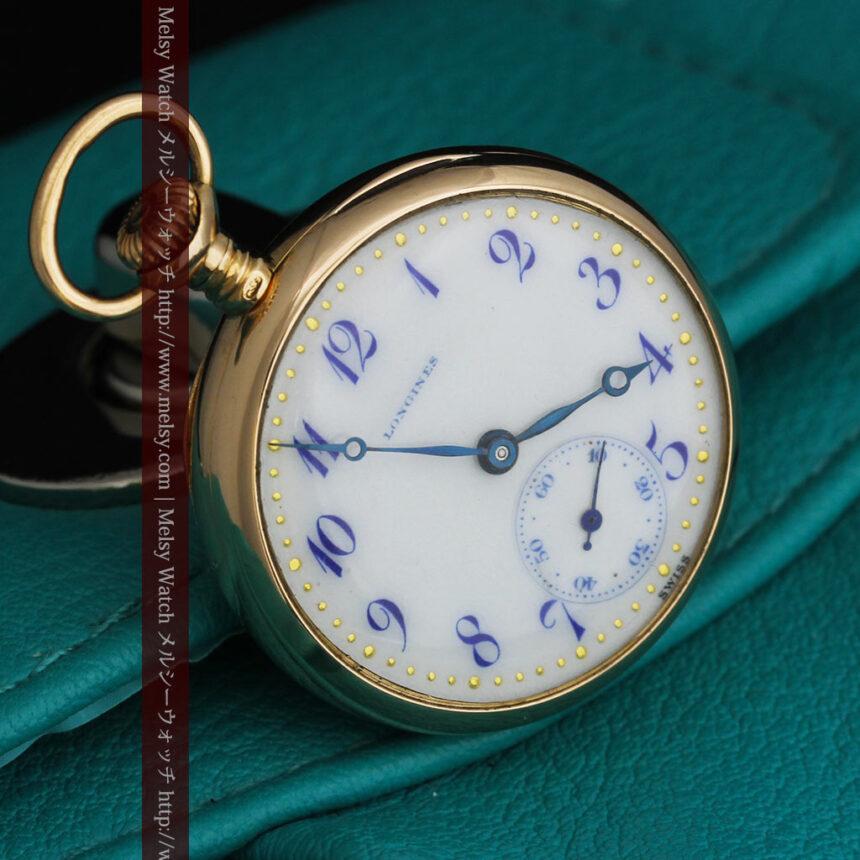 ロンジン金無垢装飾付きのアンティーク懐中時計-P2251-19