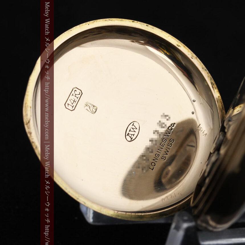 ロンジン金無垢装飾付きのアンティーク懐中時計-P2251-20