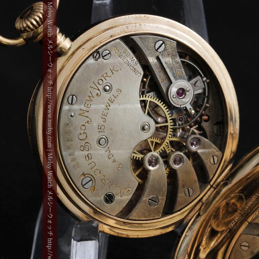 ロンジン金無垢装飾付きのアンティーク懐中時計-P2251-21