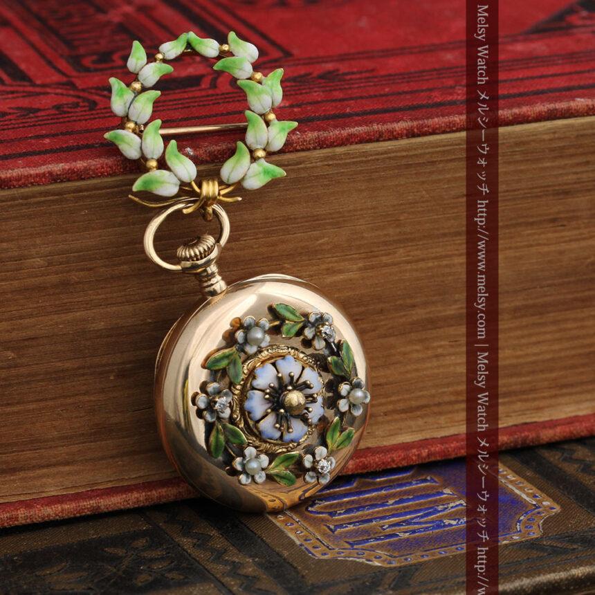 ロンジン金無垢装飾付きのアンティーク懐中時計-P2251-3