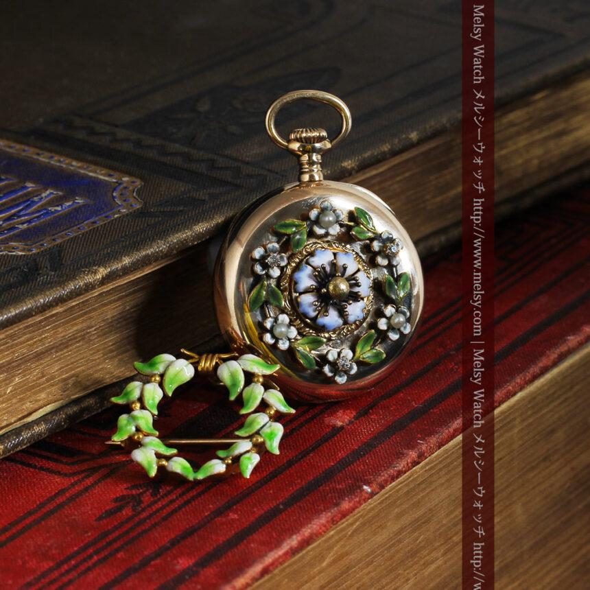 ロンジン金無垢装飾付きのアンティーク懐中時計-P2251-4