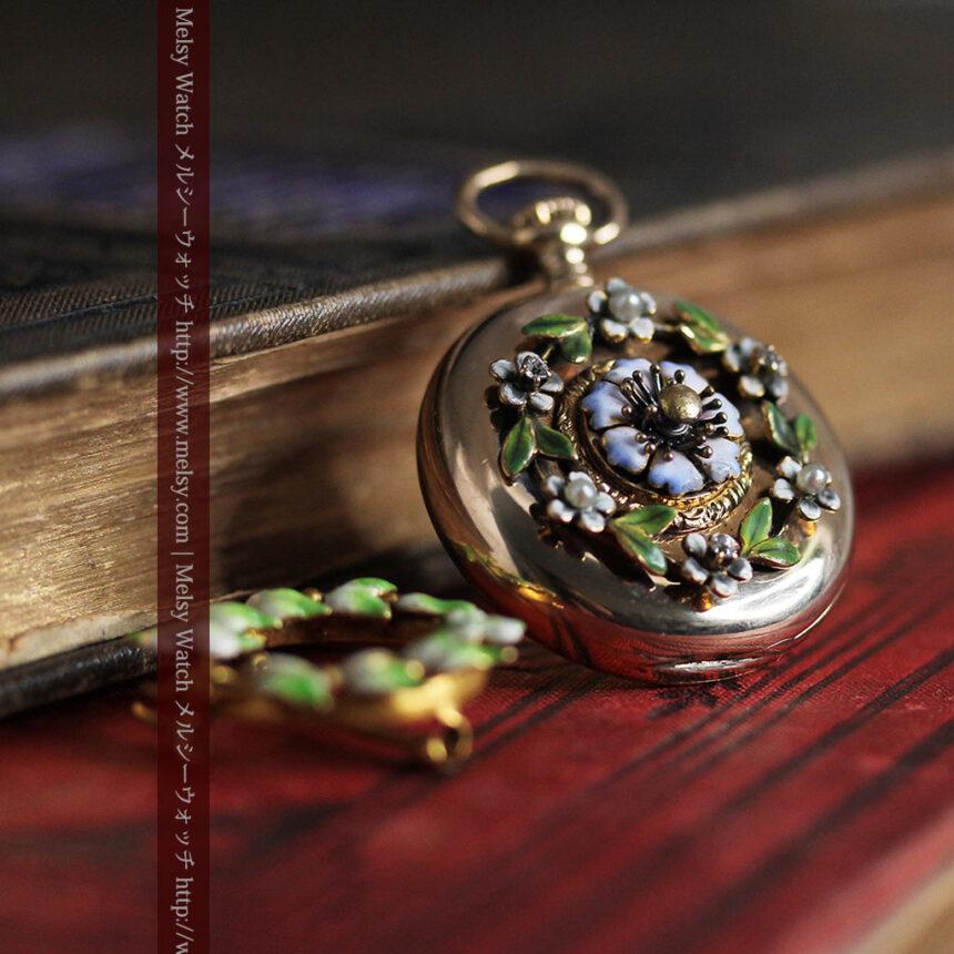 ロンジン金無垢装飾付きのアンティーク懐中時計-P2251-5