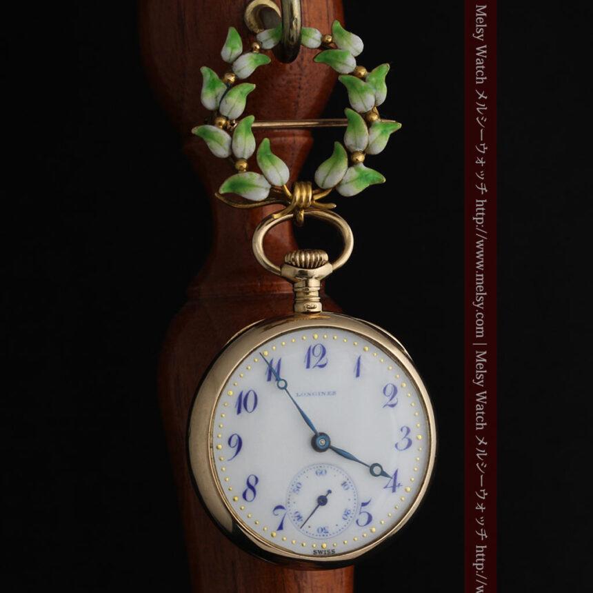 ロンジン金無垢装飾付きのアンティーク懐中時計-P2251-8