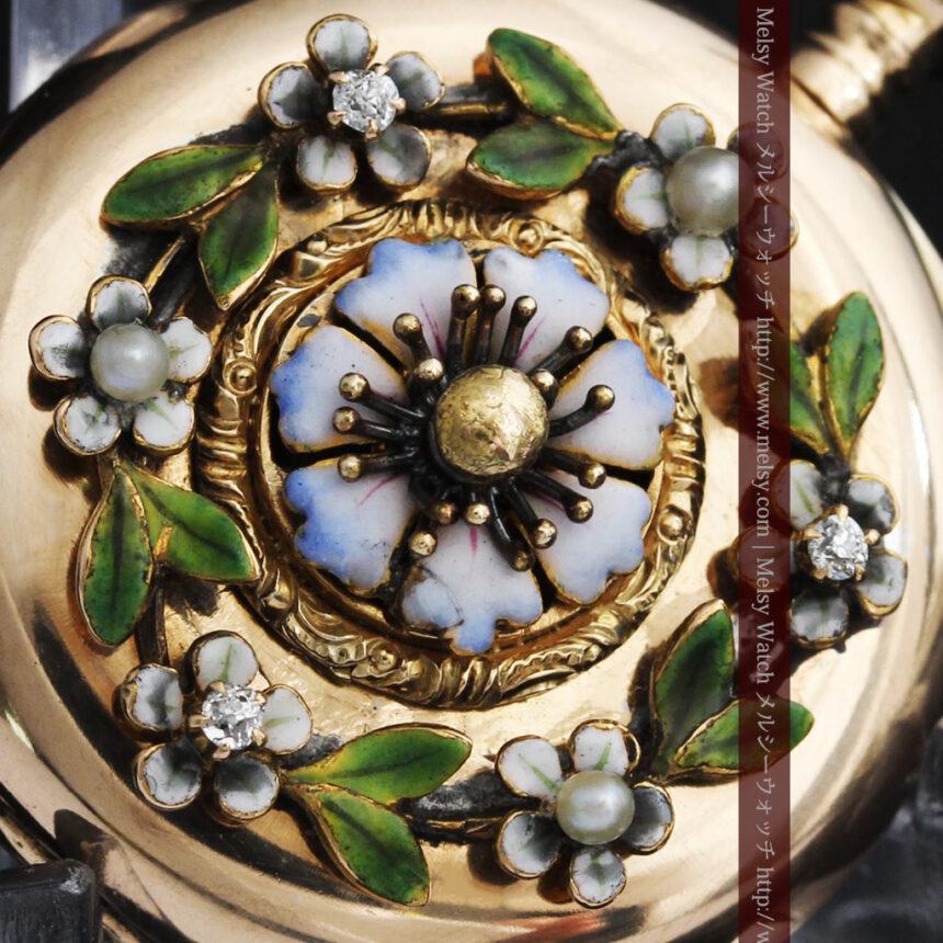 ロンジン金無垢装飾付きのアンティーク懐中時計-P2251-9