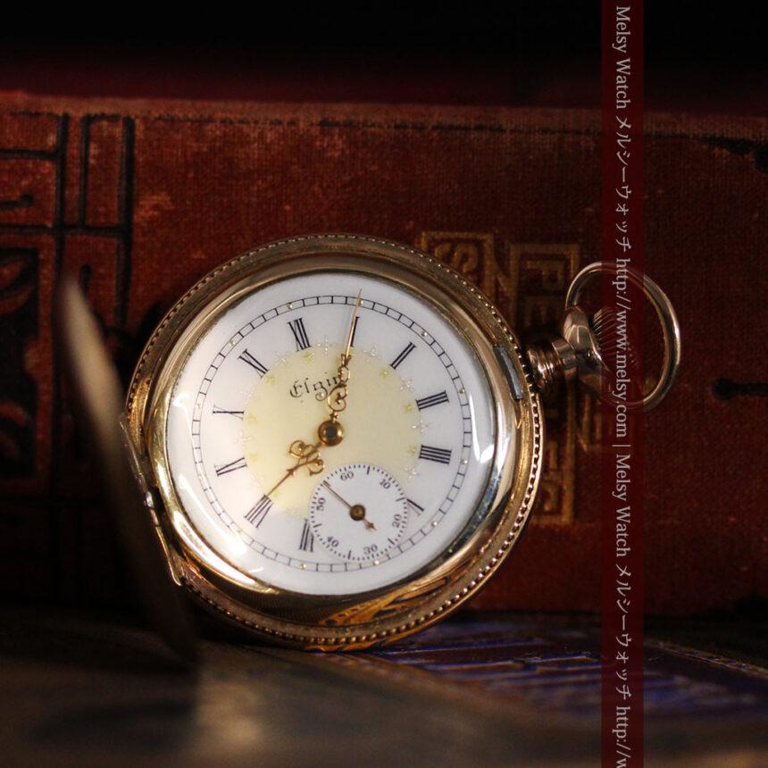 エルジン黄色い文字盤のアンティーク懐中時計-P2253-1
