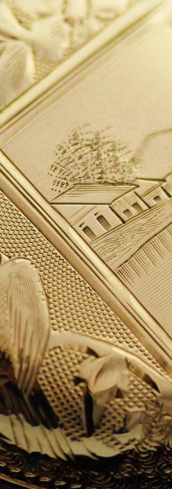 エルジン黄色い文字盤のアンティーク懐中時計-P2253-10