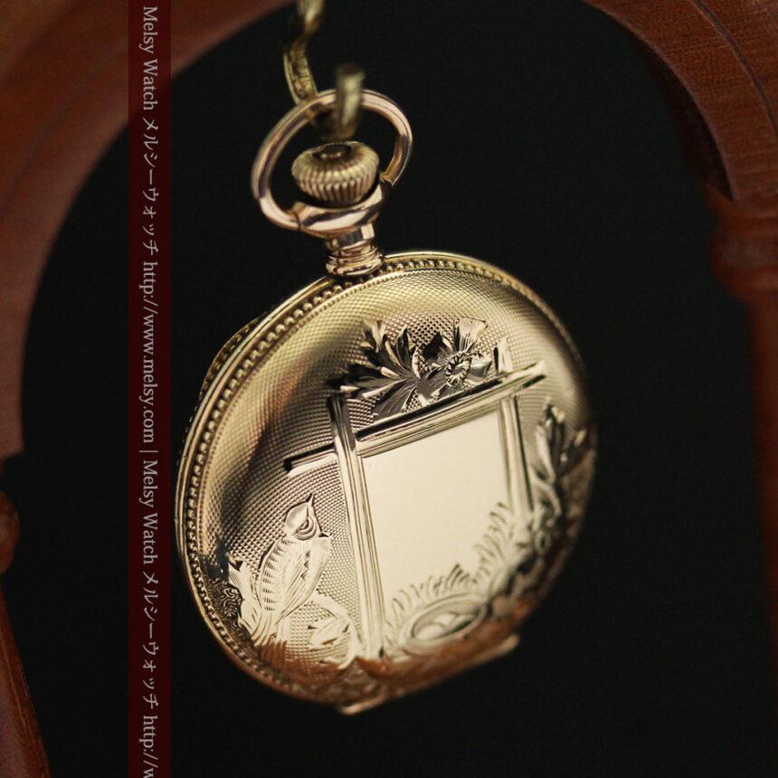 エルジン黄色い文字盤のアンティーク懐中時計-P2253-11