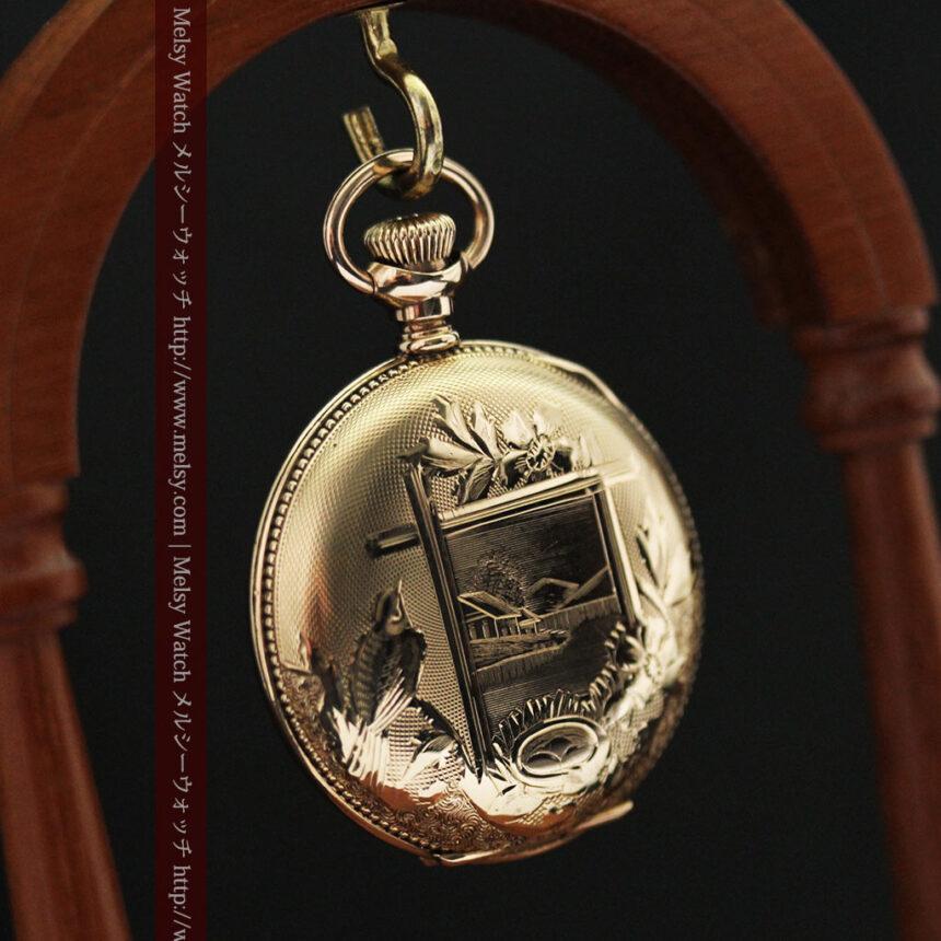 エルジン黄色い文字盤のアンティーク懐中時計-P2253-13