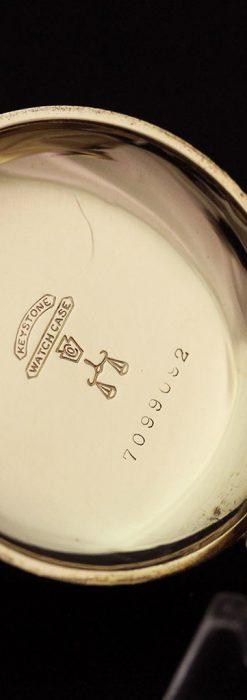 エルジン黄色い文字盤のアンティーク懐中時計-P2253-15