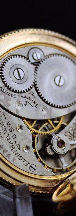 エルジン黄色い文字盤のアンティーク懐中時計-P2253-18