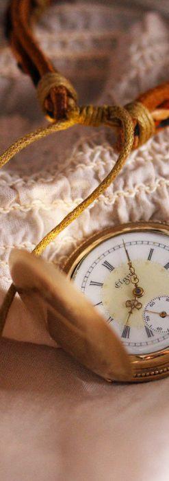 エルジン黄色い文字盤のアンティーク懐中時計-P2253-3