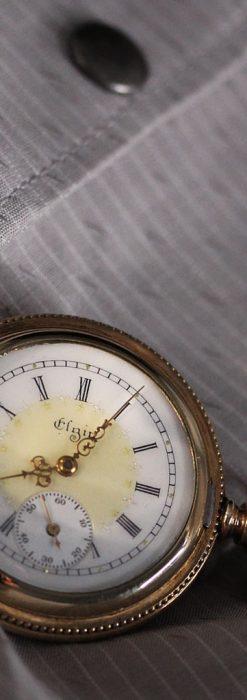 エルジン黄色い文字盤のアンティーク懐中時計-P2253-4