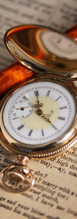 エルジン黄色い文字盤のアンティーク懐中時計-P2253-5