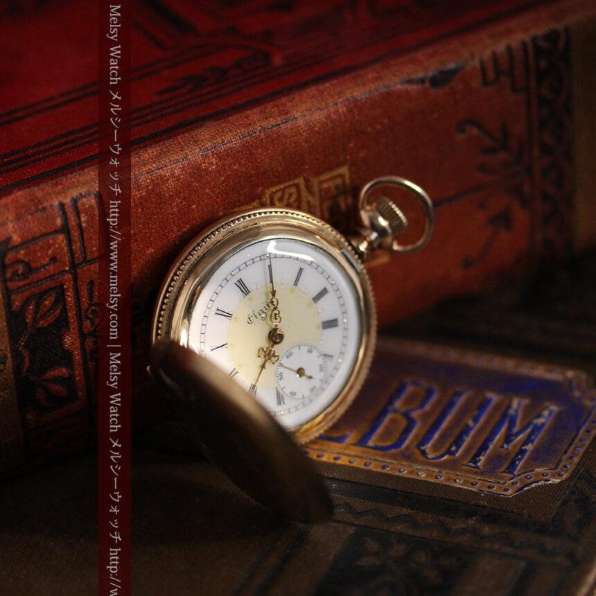 エルジン黄色い文字盤のアンティーク懐中時計-P2253-6