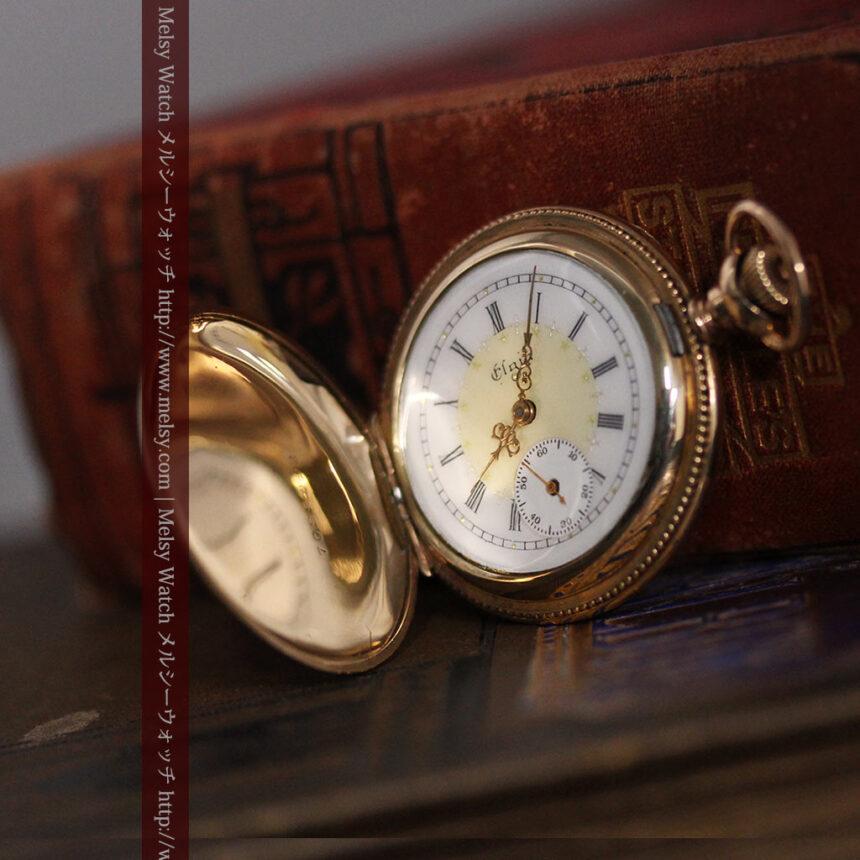 エルジン黄色い文字盤のアンティーク懐中時計-P2253-7