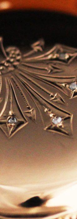 ウォルサムのダイヤモンド入りアンティーク懐中時計-P2254-1