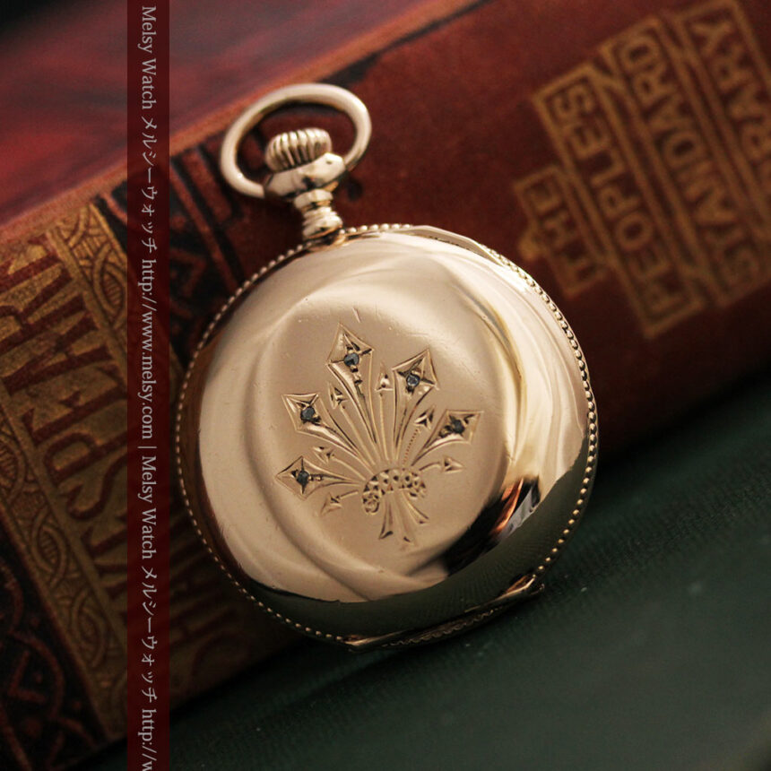 ウォルサムのダイヤモンド入りアンティーク懐中時計-P2254-10