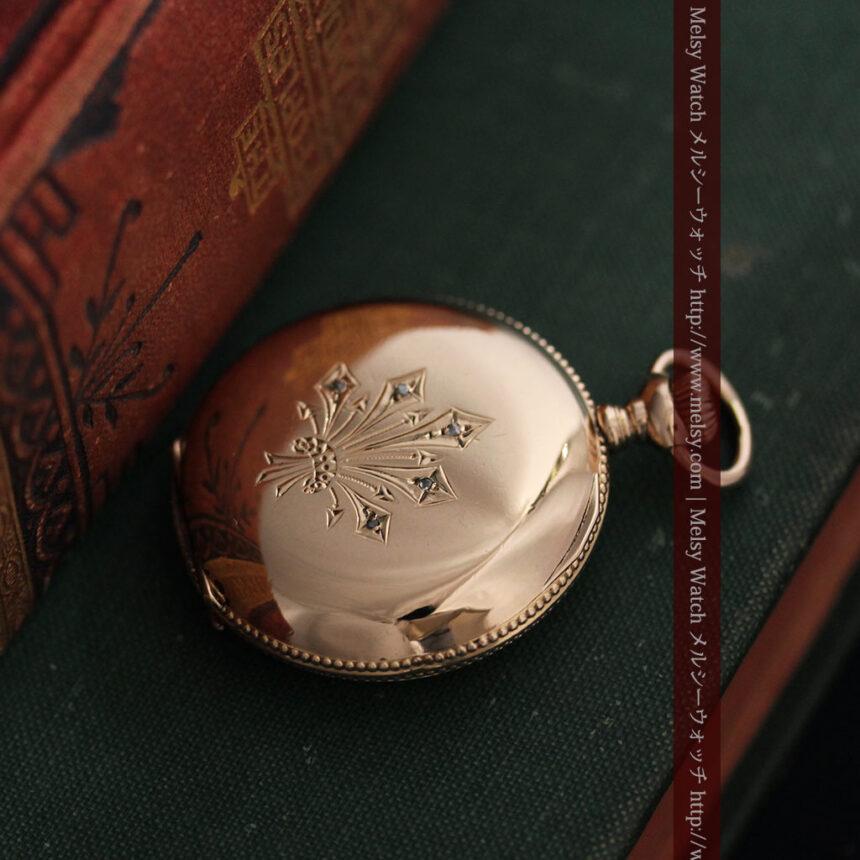 ウォルサムのダイヤモンド入りアンティーク懐中時計-P2254-2