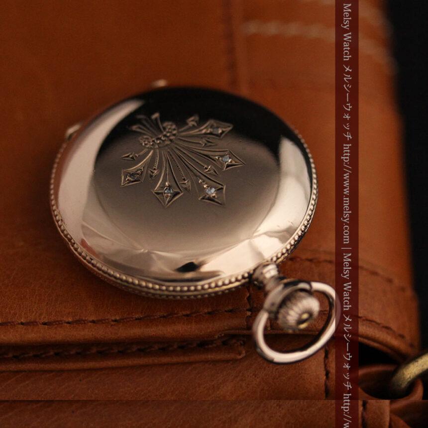 ウォルサムのダイヤモンド入りアンティーク懐中時計-P2254-5