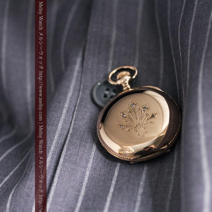 ウォルサムのダイヤモンド入りアンティーク懐中時計-P2254-7