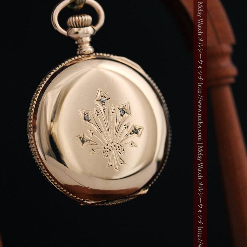 ウォルサムのダイヤモンド入りアンティーク懐中時計-P2254-9