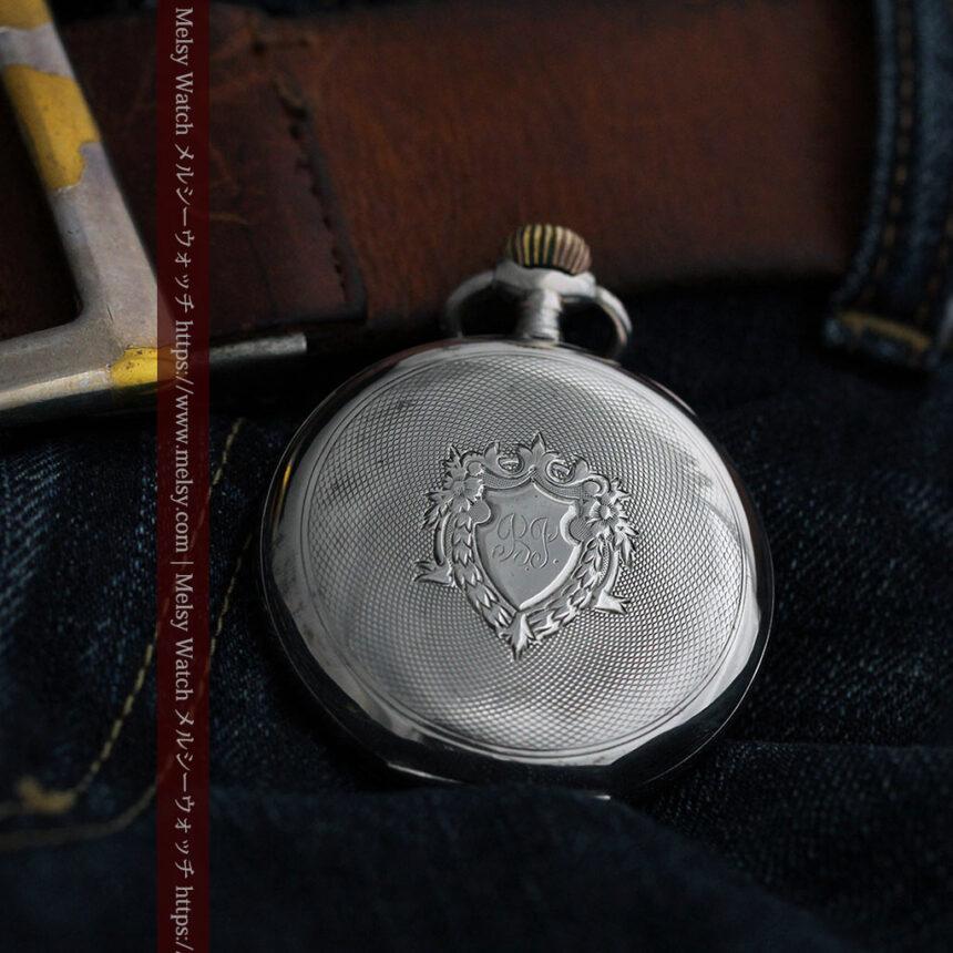 オメガの24時間表示の銀無垢アンティーク懐中時計 【1915年製】-P2259-8