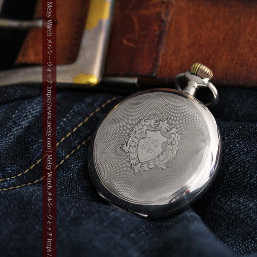 オメガの24時間表示の銀無垢アンティーク懐中時計 【1915年製】-P2259-9