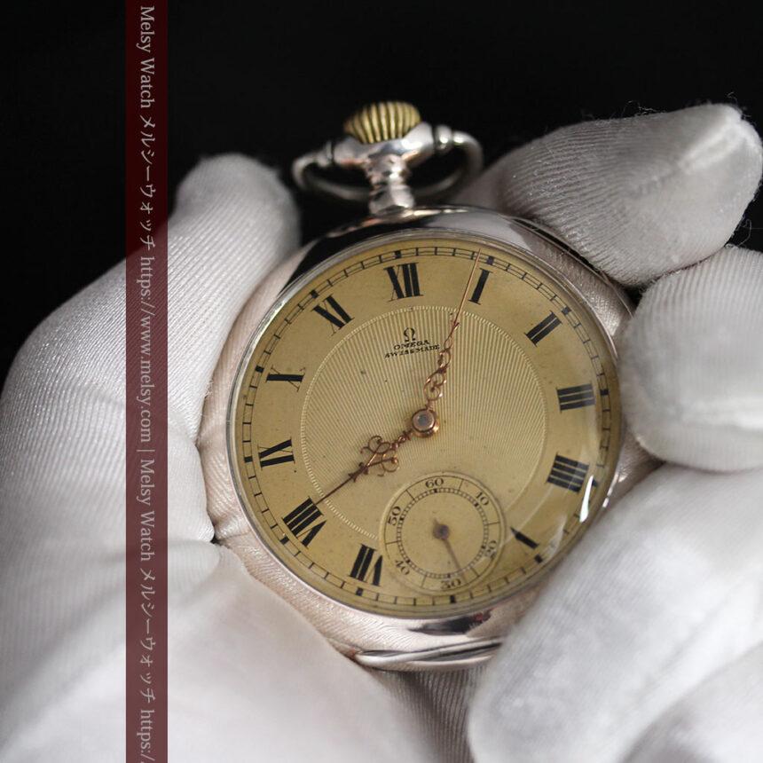 オメガの風格ある銀無垢アンティーク懐中時計 【1907年製】-P2260-11