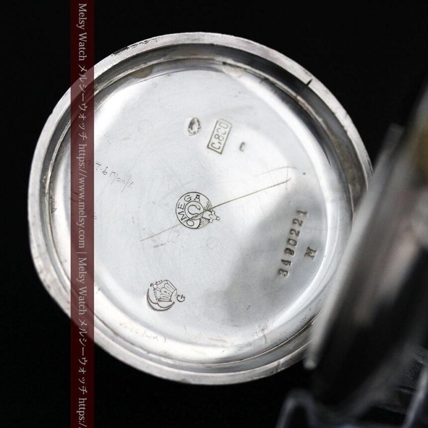 オメガの風格ある銀無垢アンティーク懐中時計 【1907年製】-P2260-12