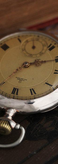 オメガの風格ある銀無垢アンティーク懐中時計 【1907年製】-P2260-3