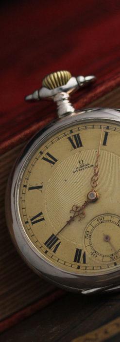 オメガの風格ある銀無垢アンティーク懐中時計 【1907年製】-P2260-5