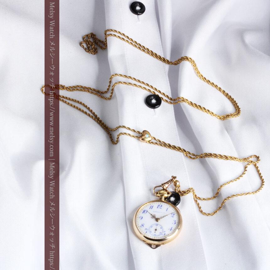 ティファニーの18金無垢アンティーク時計 懐中時計ネックレス兼腕時計 【1905年製】-P2262-16