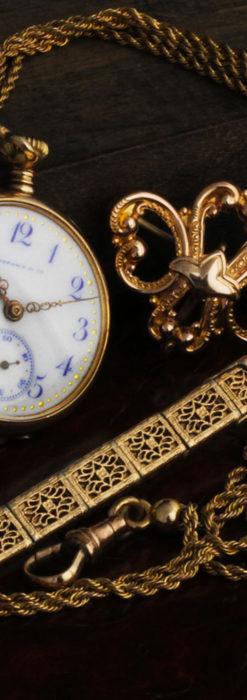 ティファニーの18金無垢アンティーク時計 懐中時計ネックレス兼腕時計 【1905年製】-P2262-25