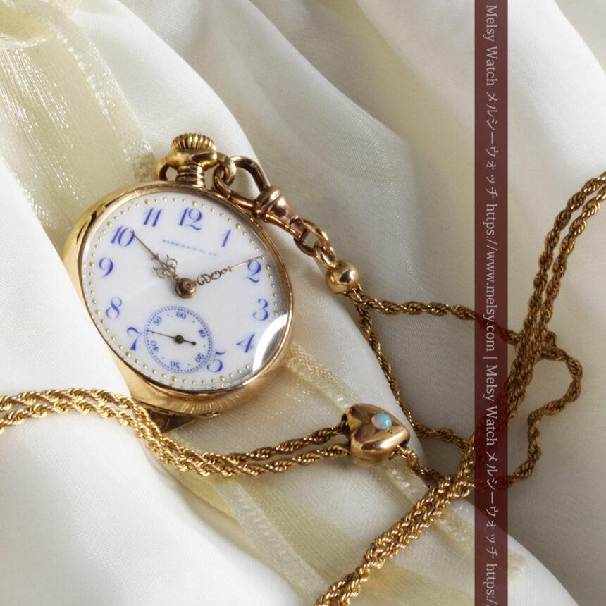 ティファニーの18金無垢アンティーク時計 懐中時計ネックレス兼腕時計 【1905年製】-P2262-4