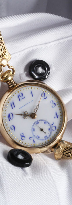 ティファニーの18金無垢アンティーク時計 懐中時計ネックレス兼腕時計 【1905年製】-P2262-5