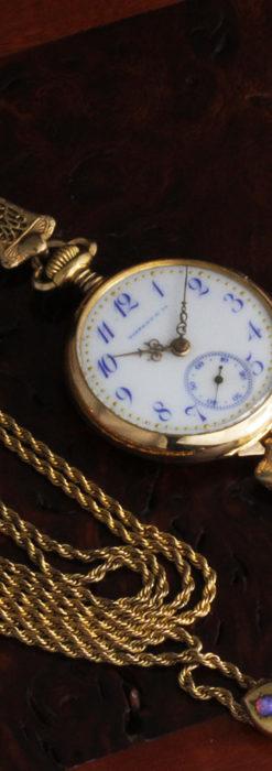 ティファニーの18金無垢アンティーク時計 懐中時計ネックレス兼腕時計 【1905年製】-P2262-6