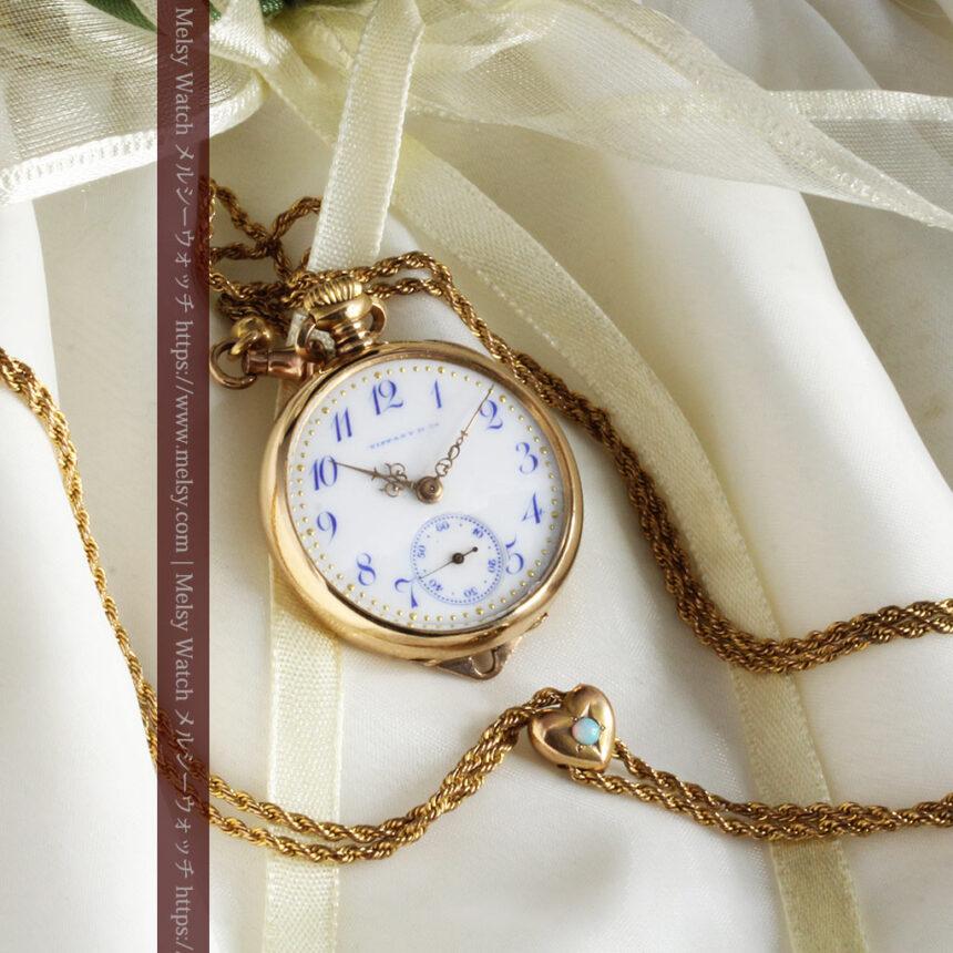 ティファニーの18金無垢アンティーク時計 懐中時計ネックレス兼腕時計 【1905年製】-P2262-8