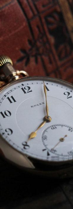 ロレックスの彫りと雰囲気の良い金無垢アンティーク懐中時計【1923年頃】-P2264-1