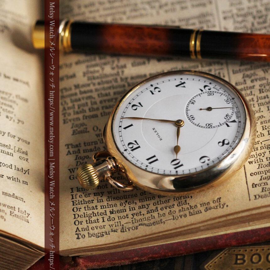 ロレックスの彫りと雰囲気の良い金無垢アンティーク懐中時計【1923年頃】-P2264-10
