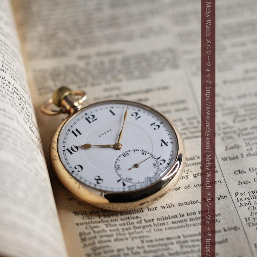 ロレックスの彫りと雰囲気の良い金無垢アンティーク懐中時計【1923年頃】-P2264-11