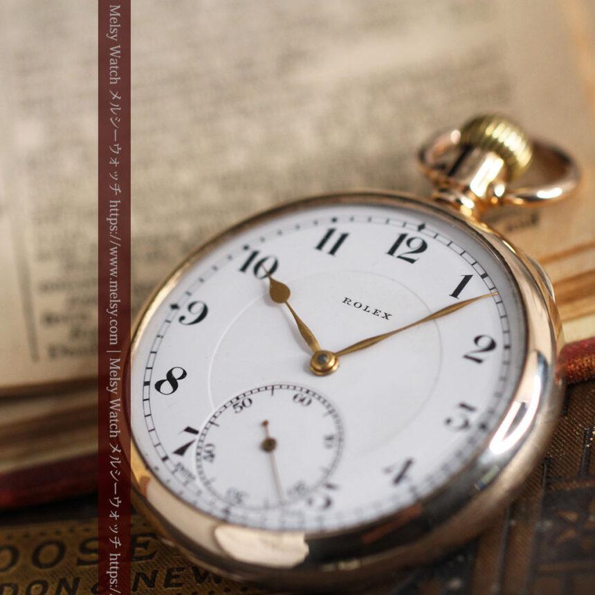 ロレックスの彫りと雰囲気の良い金無垢アンティーク懐中時計【1923年頃】-P2264-12
