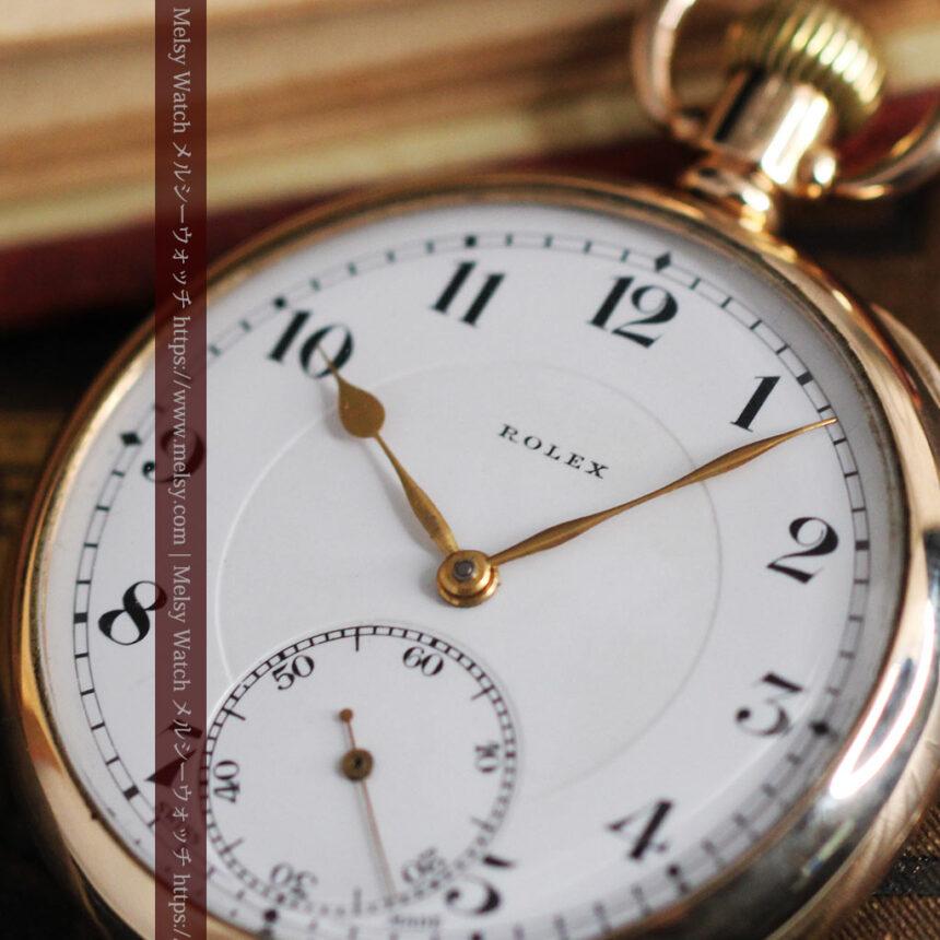 ロレックスの彫りと雰囲気の良い金無垢アンティーク懐中時計【1923年頃】-P2264-13
